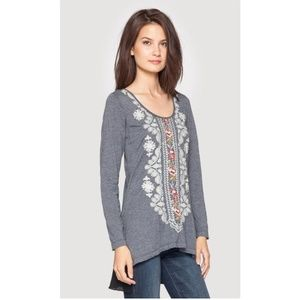 Johnny Was JWLA everly mixed media flounce tunic